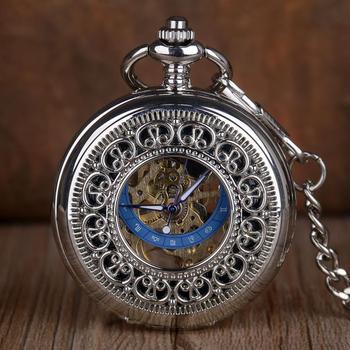 Silver Pocket Watch Hand Winding Mechanical Pocket Watch Fashion Exquisite Women Men Fob Chain Watches Skeleton Steampunk Clock