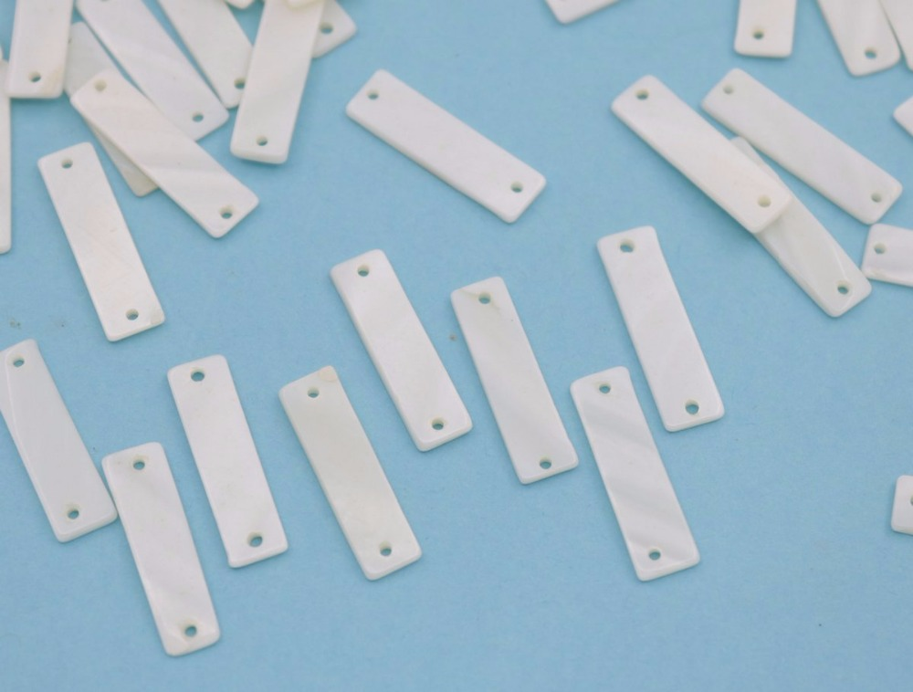 Купить с кэшбэком 100 pcs rectangle shell natural white mother of pearl jewelry making 7mmX25mm