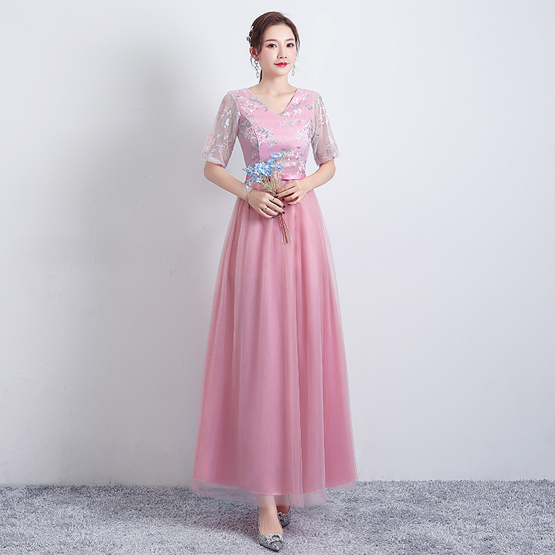 Pink Bridesmaid Dress Plus Size Tulle Long Dress For Wedding Party Woman A-Line Vintage Wedding Party Dress Sexy Prom Vestidos