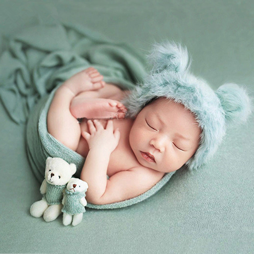 Crochet Fluffy Baby Hat Cute Bear Doll Set Baby Photography Props Studio Shoot Newborn Photography Accessories Baby Photo Props