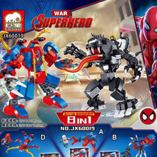 цена 8 In 1 Marvel Avengers Super Heroes Spiderman Spider Man Vs Venom Mech Building Blocks Brick Toys For Children Gifts онлайн в 2017 году