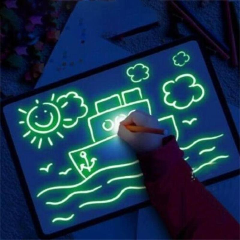 Luminescent Drawing Board Glow In Dark Kids Glowing Magic Graffiti Painting Writing Educational Toy With 2 Pens