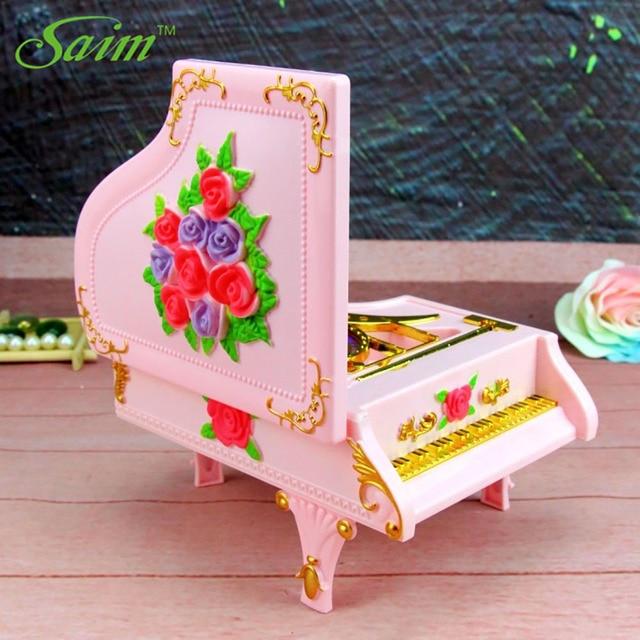 Saim Piano Music Box LED Lights Music Jewelry Boxes Rotating Ballet Girl Music Box Rose Musical