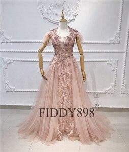 Image 5 - יוקרה שמלת ערב ארוך ערבית נוצת שרוול מבריק חרוזים נשף שמלה 2020 robe De Soiree Vestidos דה פיאסטה דה Noche