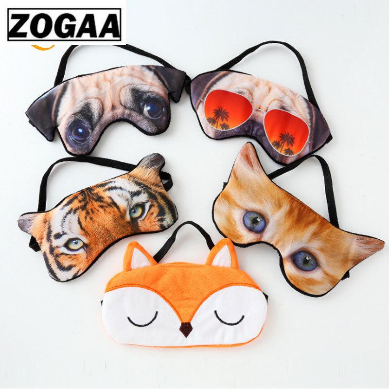Hot-selling 3D Animal Cartoon Eye Mask Super-realistic Creative Tiger Habba Dog Cat Sleep Eye Mask