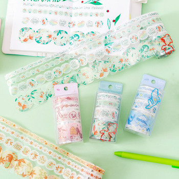 цена на 4 Designs Creative Die-cutting Journal Decoration Collage Washi Tape With Clip Scrapbook Cut-off Rule Pure Color Masking Tapes