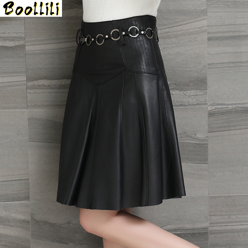 Boollili Women's Leather Skirt Spring Autumn Real Sheepskin Mini Skirts Womens Vintage Elegan Pleated Skirt Plus Size Jupe Femme image