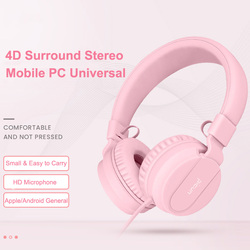 I35 Wired Kids Headphones Foldable Adjustable Wired Headphone Pink With 3.5mm Audio Jack And Microphone For Children For iPod