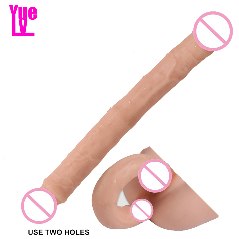 YUELV Extra Long Double Heads Realistic Dildo Sex Toys For Women Lesbian Vaginal Anal G-spot Stimulate Flexible Aritifical Penis
