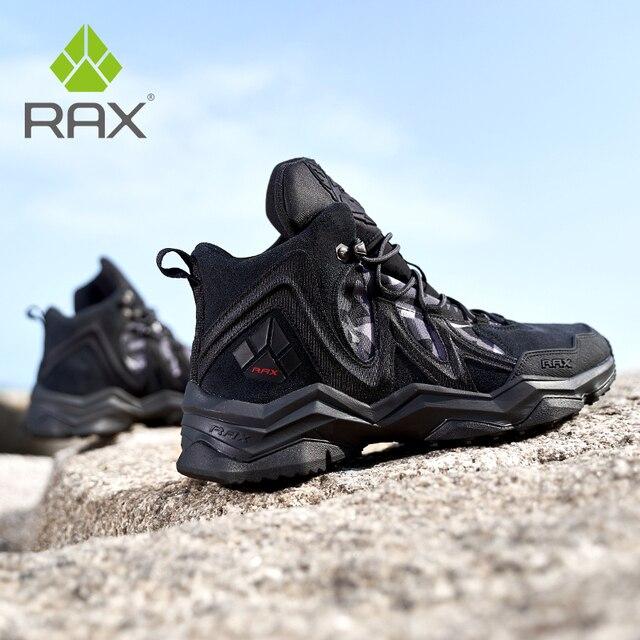 RAX الرجال حذاء للسير مسافات طويلة الشتاء مقاوم للماء في الهواء الطلق حذاء رياضة الرجال الجلود الرحلات الأحذية درب التخييم تسلق الصيد أحذية رياضية النساء