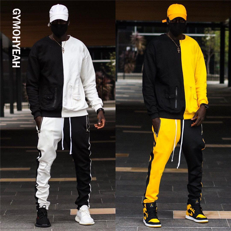 2 Pieces Set Long Sleeve Stand Collar Sweatshirt Sports Set Gyms Clothes Men Sport Suit Training Men Sports Wear Hoodies+Pants