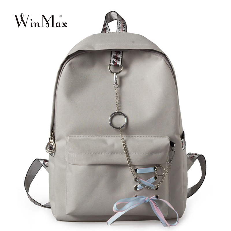 2019 Solid Backpack Girl School Bag For Teenage College Wind Women SchoolBag High Student Bag Black Canvas Chain Bundle Backpack