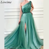 Muslim One Shoulder Beading Couture Celebrity Dresses 2019 Green Fairy Long Red Carpet Dress Evening Prom Party Gowns Pregnant
