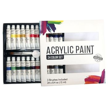 Acrylic Paint Set 24 Color Tubes of 0.4 oz (12 ml) Art for Kids Painting