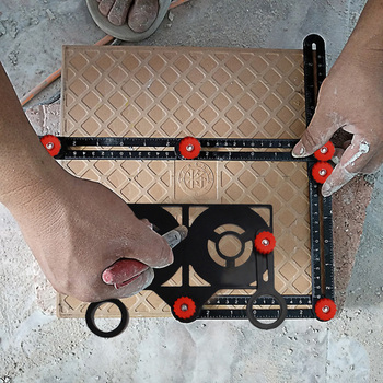 6-Sided płytki otwór lokalizator regulowane narzędzie murarskie szkło stałe kąt linijka miernicza uniwersalny kątowe szablon ręcznie narzędzia tanie i dobre opinie alloet CN (pochodzenie) Woodworking NONE