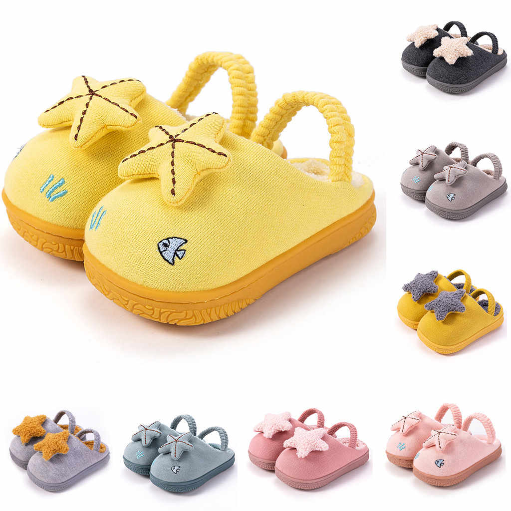 Toddler Boys Girls Winter kids slippers indoor non-slip Soft-Soled Shoes Warm Cute Star Cartoon Home slippers children 2019