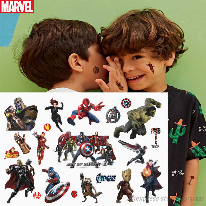 Hasbro Spiderman Marvel The Avengers Kinderen Cartoon Tijdelijke Tattoo Sticker Voor Jongens Cartoon Speelgoed Waterdicht Party Kids Gift