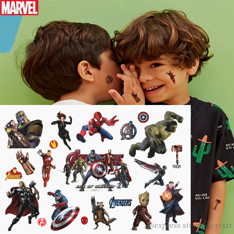 Hasbro Spiderman Marvel The Avengers Children Cartoon Temporary Tattoo Sticker For Boys Cartoon Toys Waterproof Party Kids Gift