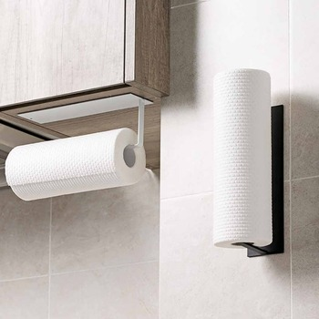 Self-adhesive Roll Paper Rack Towel Holder Tissue Hanger Rack Nail-Free Cabinet ShelfWall Mount Paper Holder Storage Rack