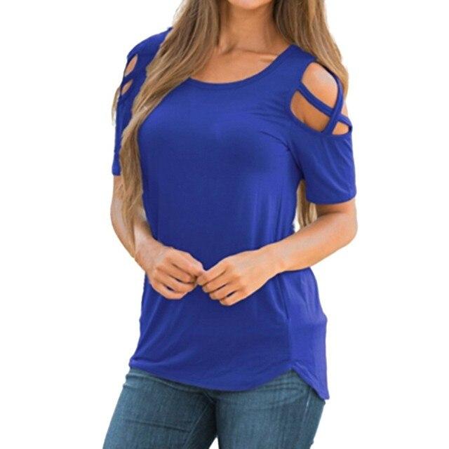 Γυναικεία μπλούζα μονόχρωμη κοντομάνικη με χιαστί λεπτομέρεια στους ώμους
