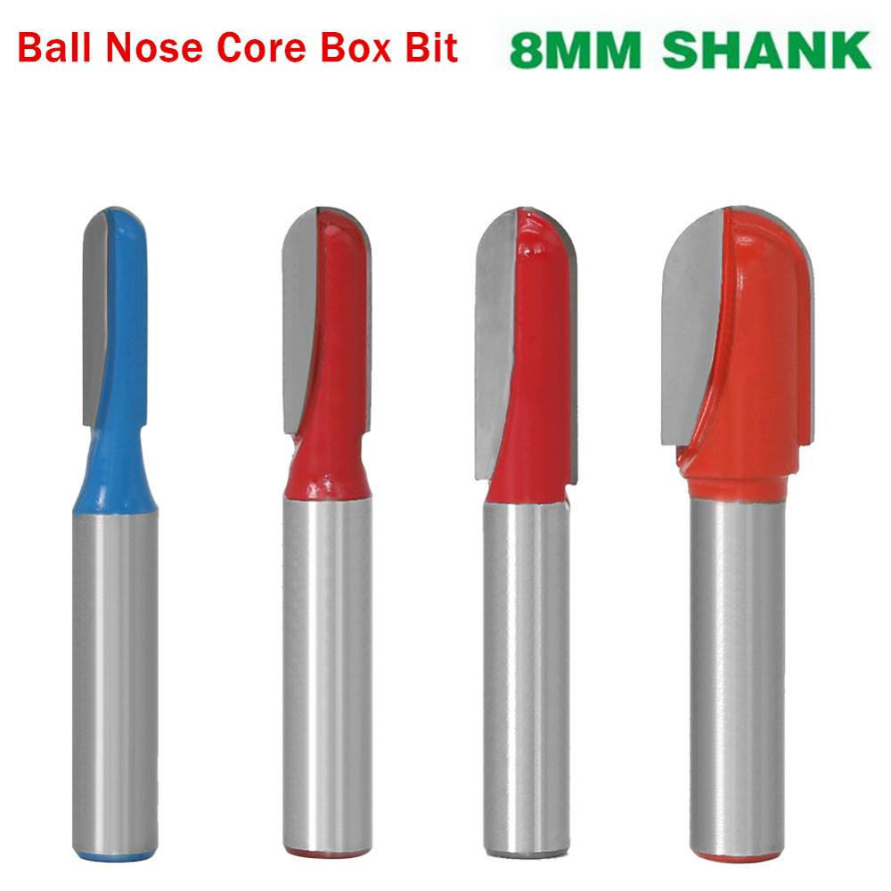 5 Sets 6mm Shank Round Nose Cove Core Box Router Bit Cutter for Woodworking