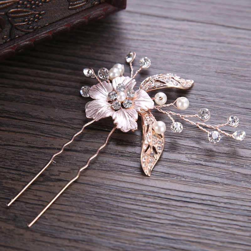 ACRDDK 2pcs Crystal Pearl Hair Pins Tiaras Hair Jewelry Rhinestone Bridal Hairpin Hair Sticks Wedding Bridal Hair Accessories SL