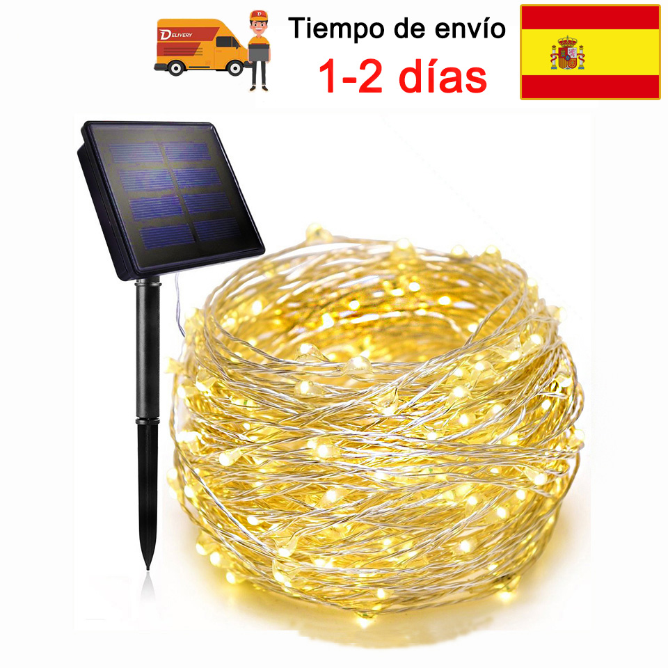 Spain 22M Led String Light Outdoor Wire Copper Solar Lamp Christmas Decoration Garland String Light For Holiday Wedding Garden