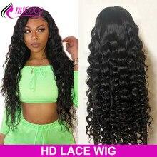 Perruque Lace Frontal Wig 360 brésilienne Remy bouclée, cheveux naturels, Loose Deep Wave, 30 pouces, Transparent HD