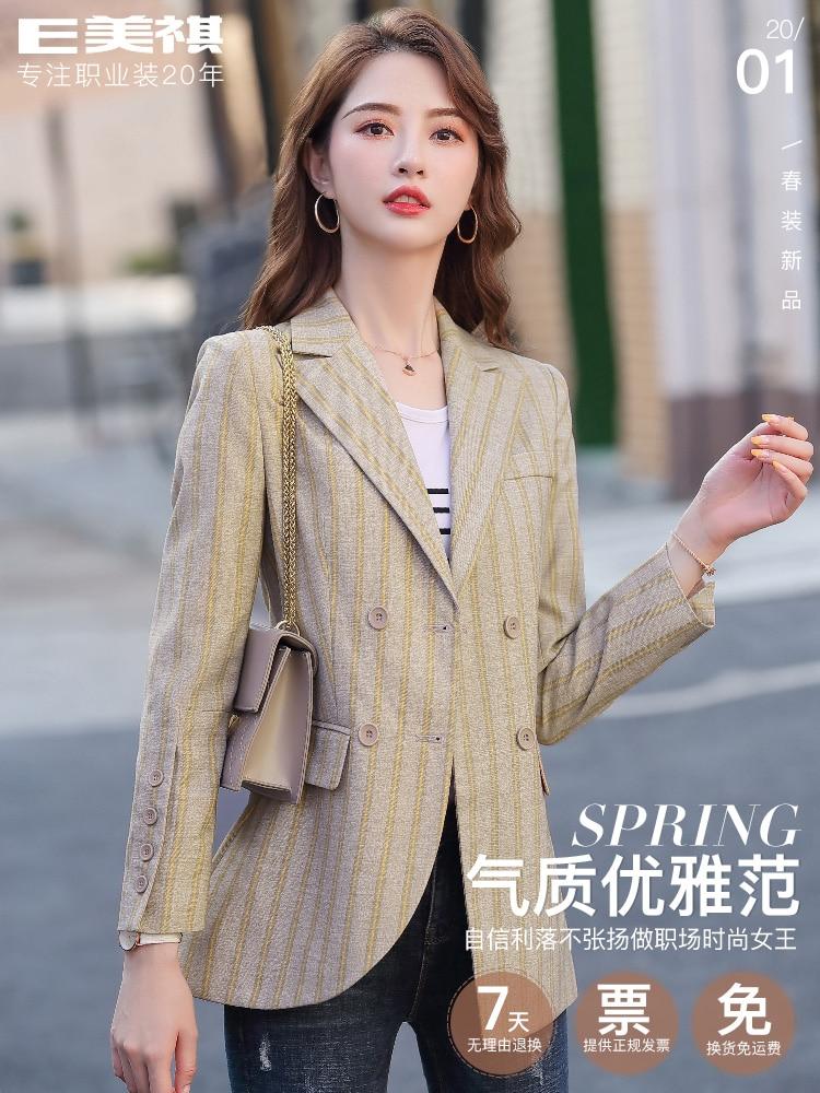 Stripe Korean Ladies Blazer Pink Loose Casual Vintage Suit Jacket Blazer Noir Femme Stylish Office Women Blazer Spring MM60NXZ