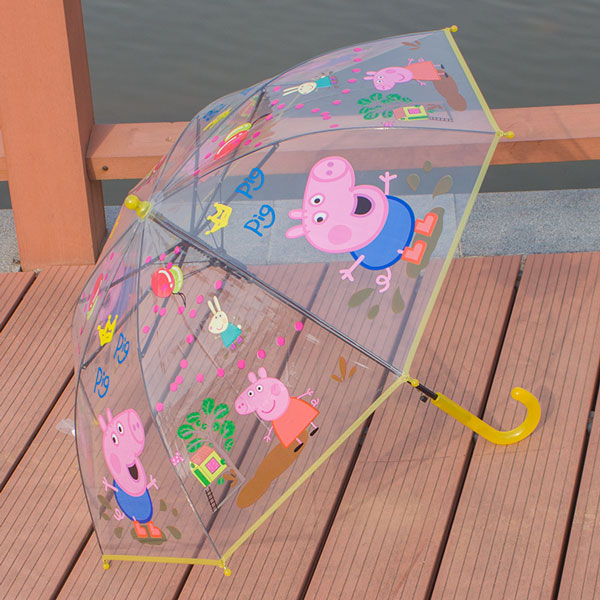 7 Color Mass Production Creative Cartoon Transparent Umbrella Long-handle Children's Umbrella Kids Parasol