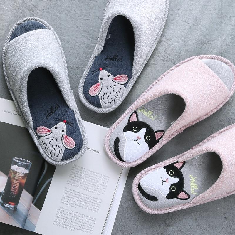 Cute Home Slippers Women Men Spring Summer Indoor Floor Cotton House Shoes Cartoon Mouse Cat Design Silent Anti-slip Soft Bottom