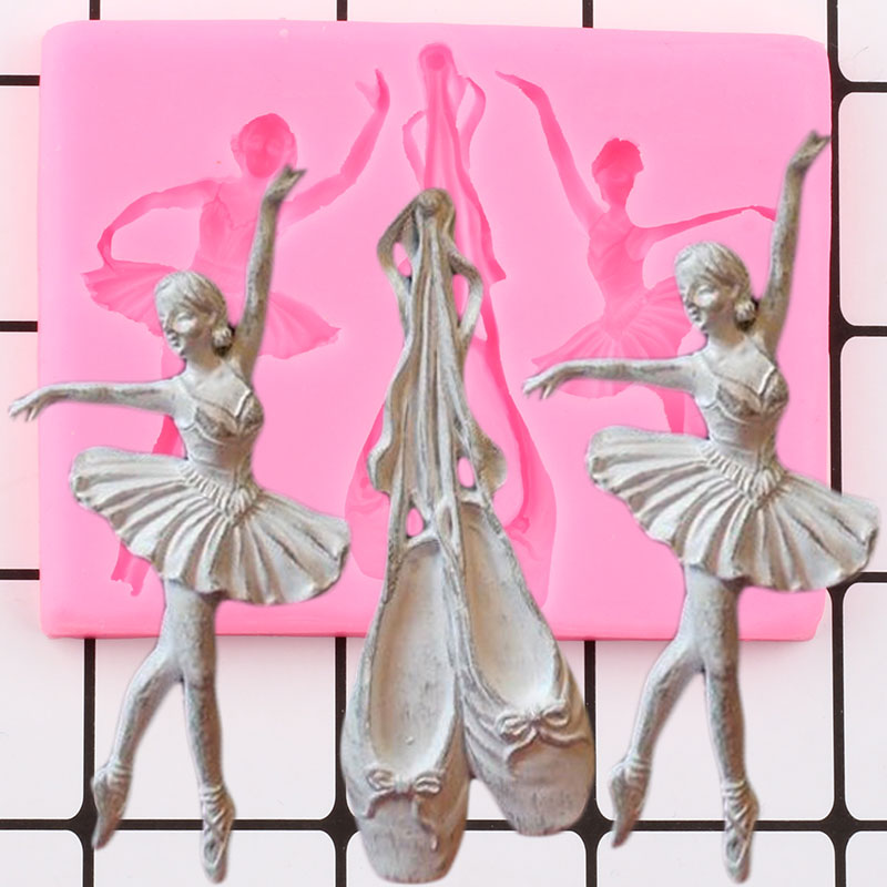 Ballet Shoes Silicone Mold Dancer Girls Baby Birthday Fondant Cake Decorating Tool Cupcake Topper Candy Chocolate Gumpaste Mould|Cake Molds| |  -
