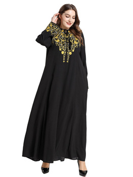 MC209001 Dignified Comfortable Arab Suit-dress Black Embroidered Long Sleeve Muslim leisure Longuette Burqa Islamic Clothing