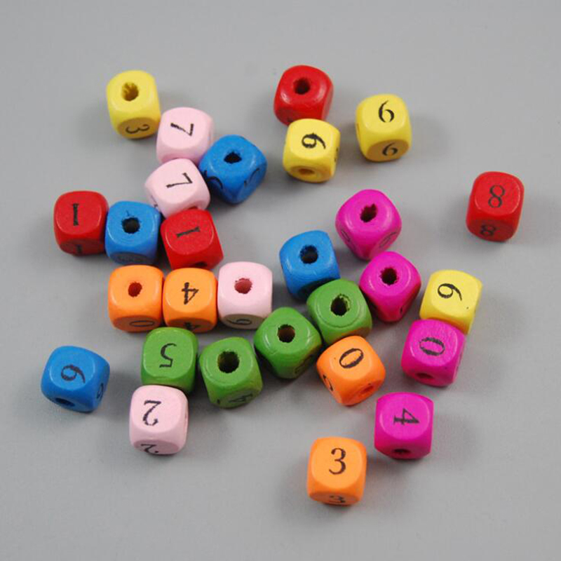 50pcs Wooden Toys Baby DIY Toy Quare Wooden Beads Letter Printed Colorful Toy Monterssori Educational For Kids