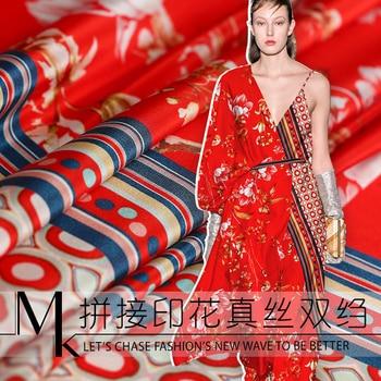 138 cm width printed natural silk fabric meter mulberry silk double crepe fabric draped shirt dress fabric wholesale silk cloth