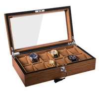 12 Grid Retro Wooden Watch Display Case Jewelry Collection Storage Durable Packaging Holder Watch Organizer Box