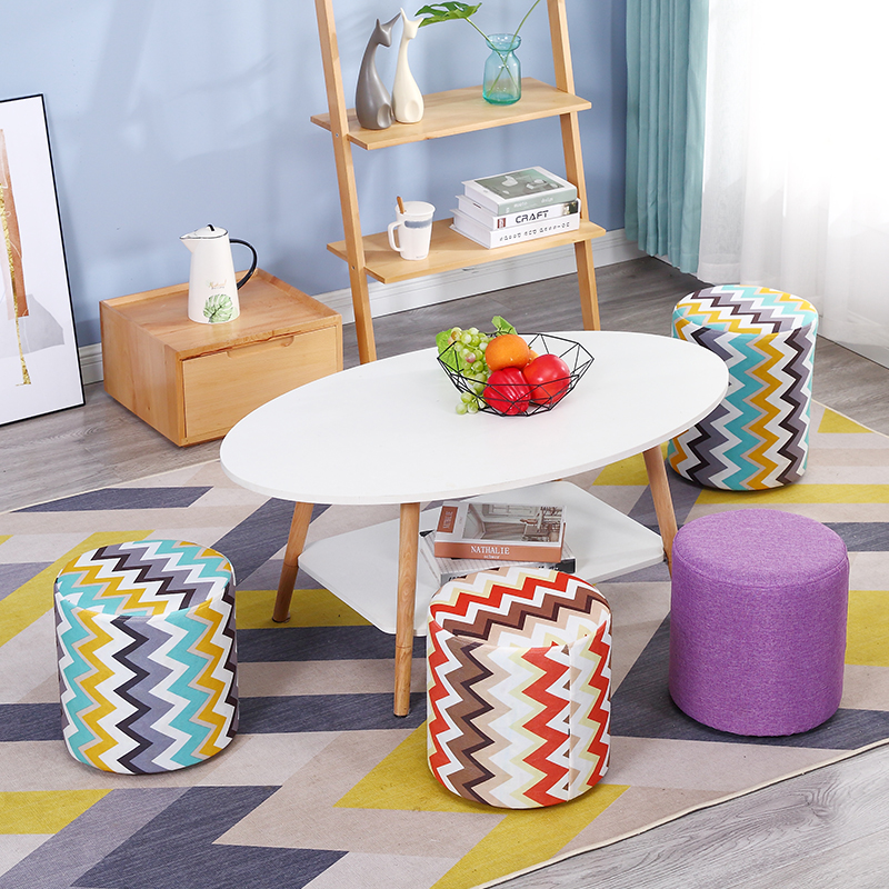 Fashion Red Blue Curve Wooden Stool Family Chair Fashionable Cloth Art Tea Table Adult Sofa Creative Foot Stool Wood Bench