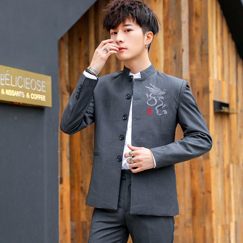 2020 Summer Wear Men Chinese-style Dragon Totem Embroidered Sun Yat-sen Costume Single Breasted Stand Collar Suit Jacket 2 Piece