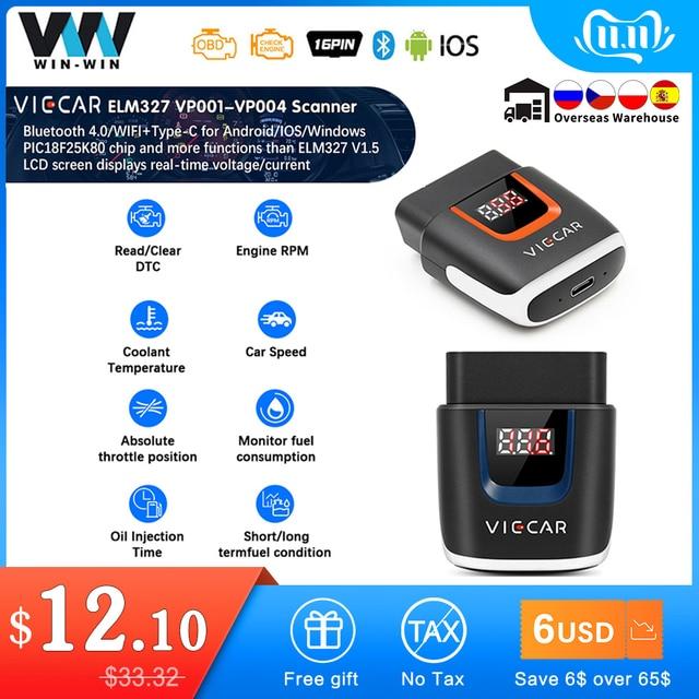Viecar ELM 327 V2.2 VP003 PIC18F25K80 WIFI OBD 2 OBD2 ELM327 Bluetooth 4.0 Scanner for Android/IOS ODB2 Car Diagnostic Auto Tool
