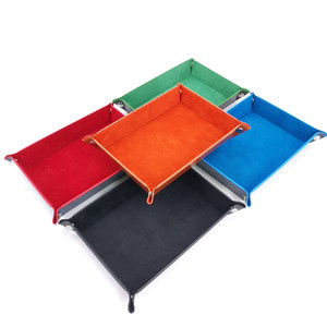 1 Pcs PU Leather Dice Trays Foldable Velvet Cloth Storage Box for Table Games Key Wallet Coin Box Desktop Sundries Trays(China)