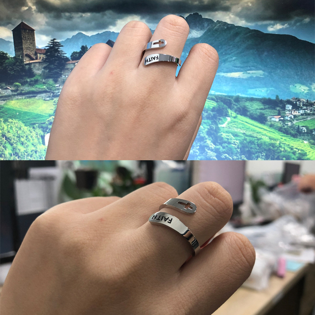 2020 jewelry faith adjustable Rings&Stainless Steel Rings For Women vintage cross letter round on fingers Gifts for the new year 5