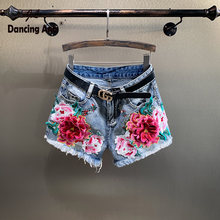 Women Embroidery Jeans Shorts Floral Print Oversized Wide-leg Hot Pants Loose High Waist Woman Denim(China)