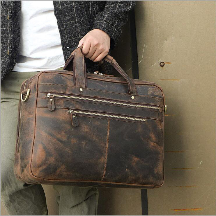 Luufan Retro Fashion Men Briefcase Bag Leather Male Business Man Bags For 15.6 Inch Laptop Handbags Cow Leather Shoulder Bag