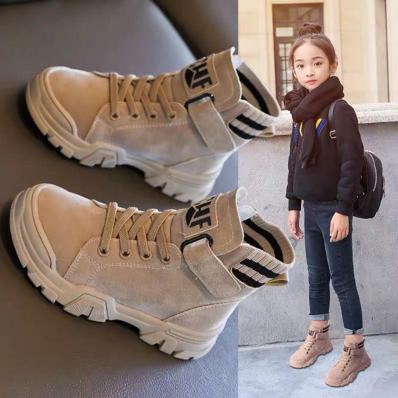 Детские ботинки 2020, зимняя новая обувь для мальчиков и девочек, Ботинки Martin, повседневные прогулочные уличные кожаные плюшевые детские зимн...