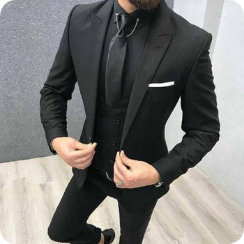 Three Piece Royal Blue Men Suits Peaked Lapel Custom Made Wedding Tuxedos Slim Fit Male Suits (Jacket + Pants + Vest+Tie) 8