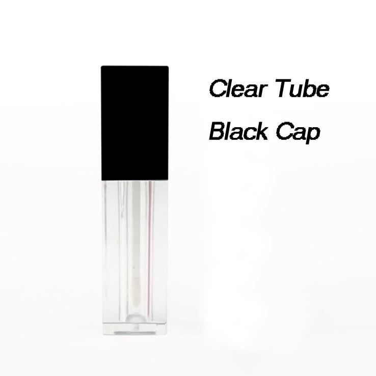 Новые 5 мл пустые трубки для блеска для губ квадратной формы черные, белые крышки прозрачные губные глазури трубки мини-проба флаконы косметический упаковочный контейнер - Цвет: Black Cap