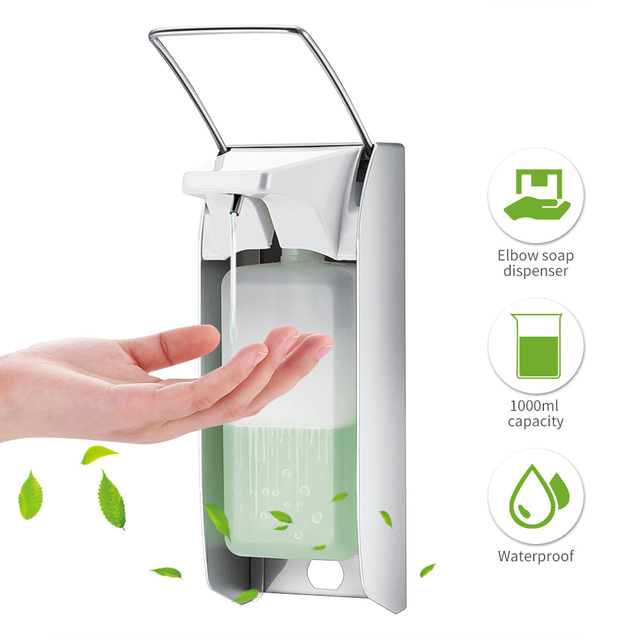 Liquid Soap Dispenser Elbow Press Disinfectant Dispenser Wall Mounted Soap Pumps Soap Dispenser For Home School Hotel Hospital
