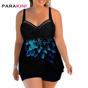 PARAKINI Plus Size Swimwear Flower Print Open Back Swimdress and Shorts Large Size Swimsuit Women Tankini Beach Wear Bathing Sui