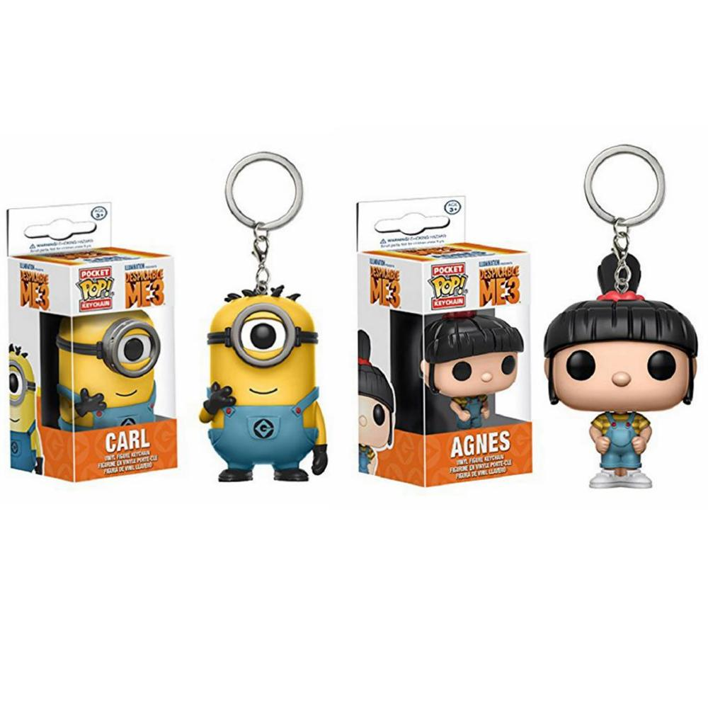 <font><b>Funko</b></font> <font><b>pop</b></font> Despicable <font><b>Minion</b></font> Carl Agnes Vinyl Keychain Toy Action Figure brinquedos Collection Model toys for Children gift image