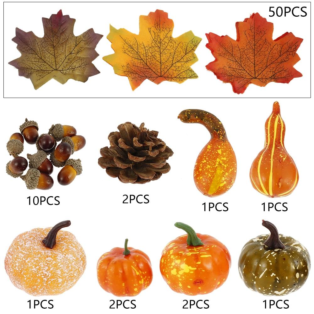 50Pcs Fall Harvest Decor Artificial Mini-Pumpkin Gourd Acorn Berries Maple Leaf